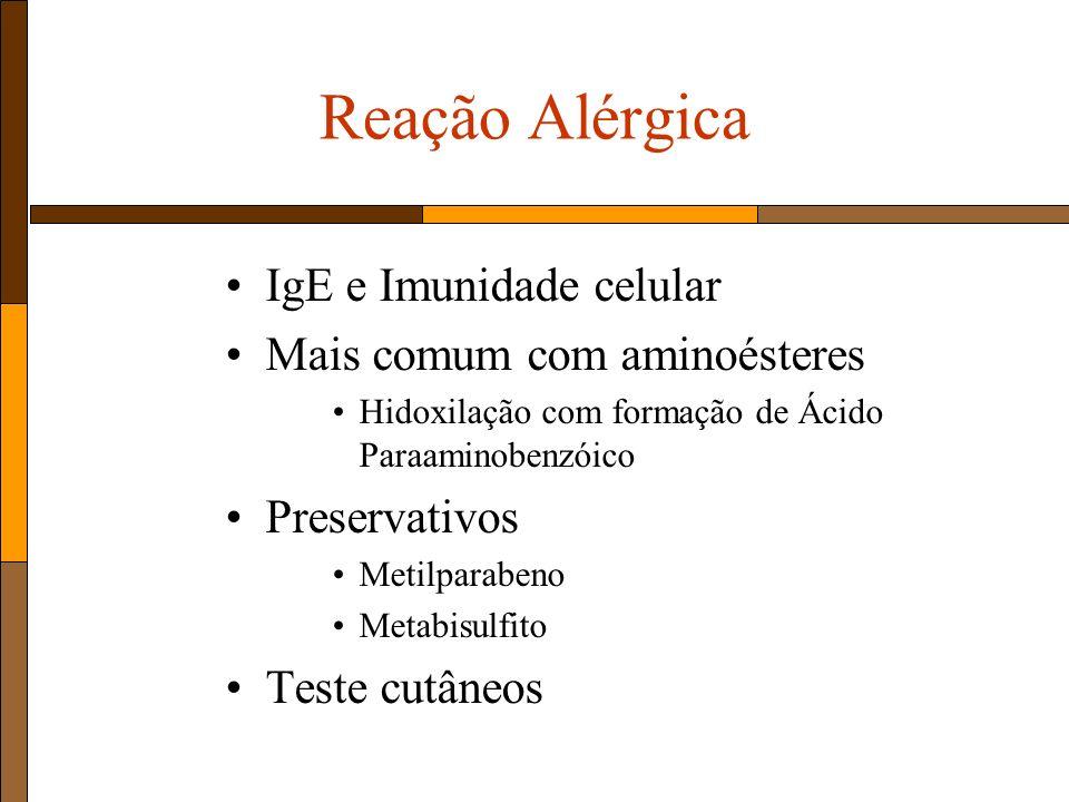 Reação Alérgica IgE e Imunidade celular Mais comum com aminoésteres