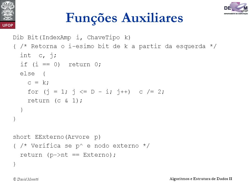 Funções Auxiliares Dib Bit(IndexAmp i, ChaveTipo k)