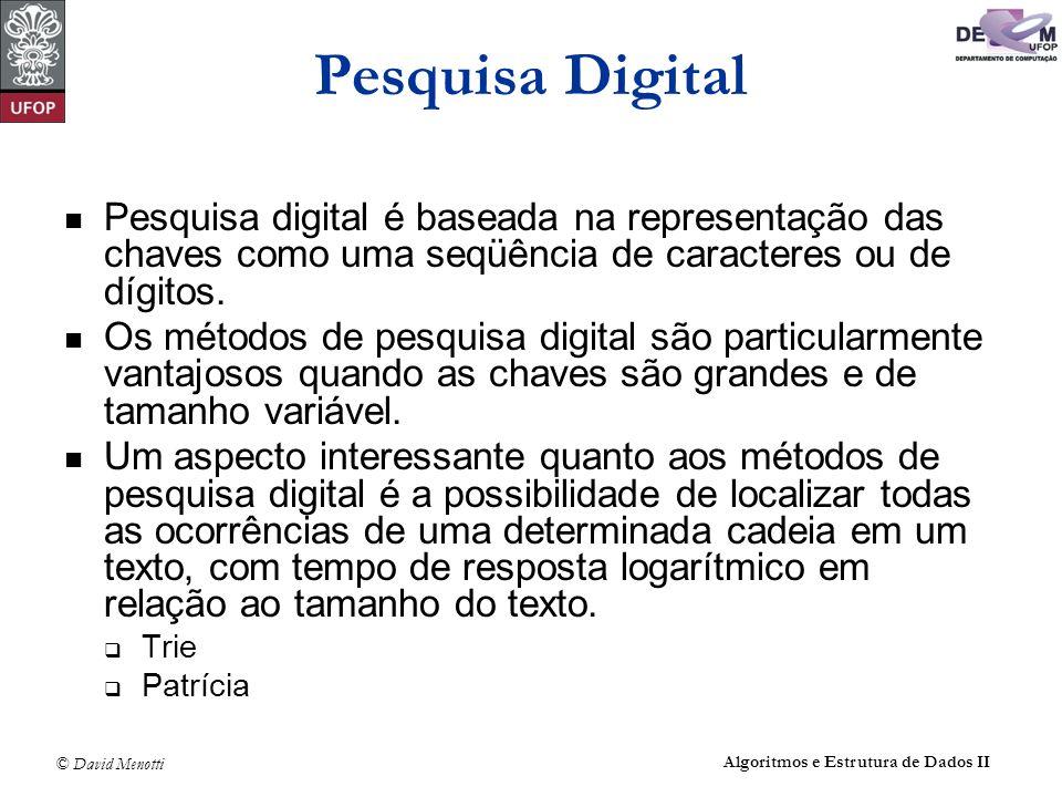 Pesquisa Digital Pesquisa digital é baseada na representação das chaves como uma seqüência de caracteres ou de dígitos.