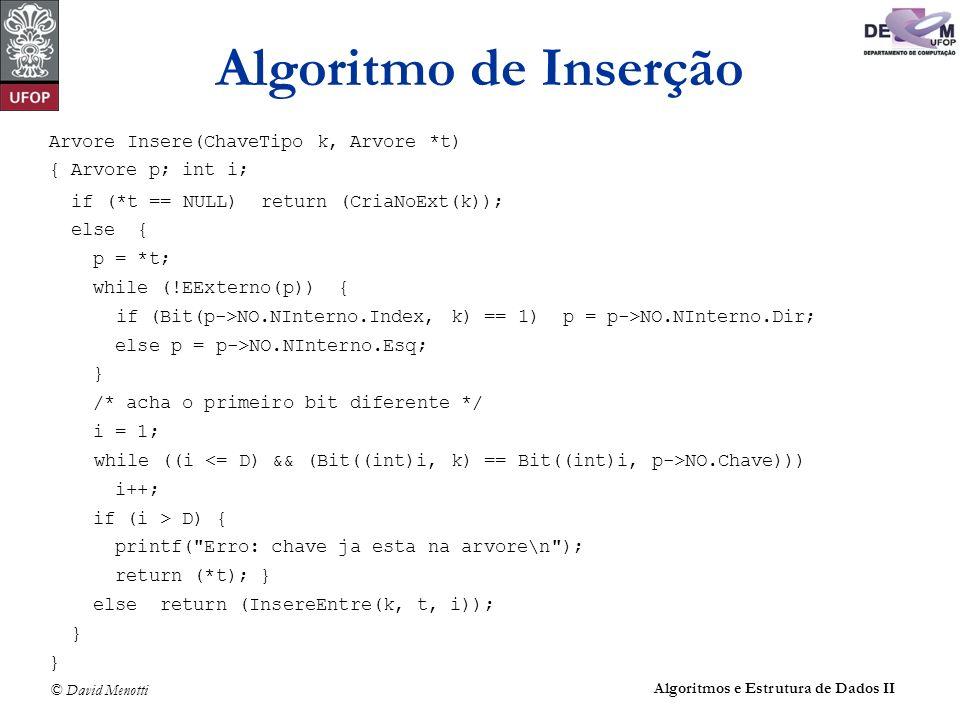 Algoritmo de Inserção Arvore Insere(ChaveTipo k, Arvore *t)