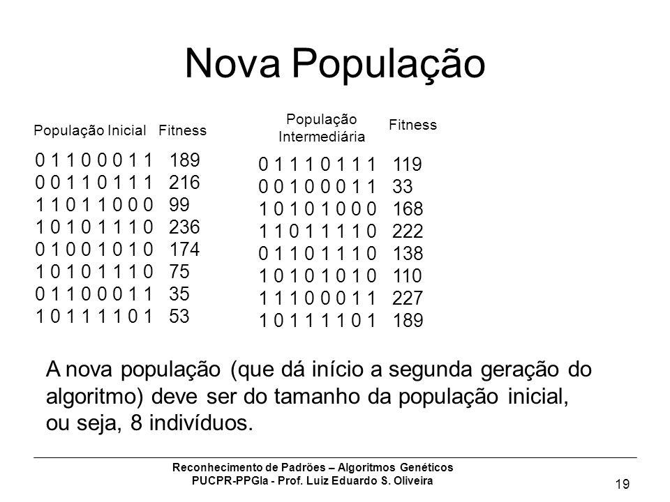Nova População A nova população (que dá início a segunda geração do