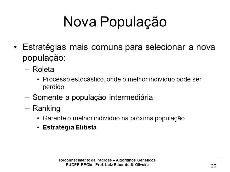 Nova População Estratégias mais comuns para selecionar a nova população: Roleta. Processo estocástico, onde o melhor indivíduo pode ser perdido.