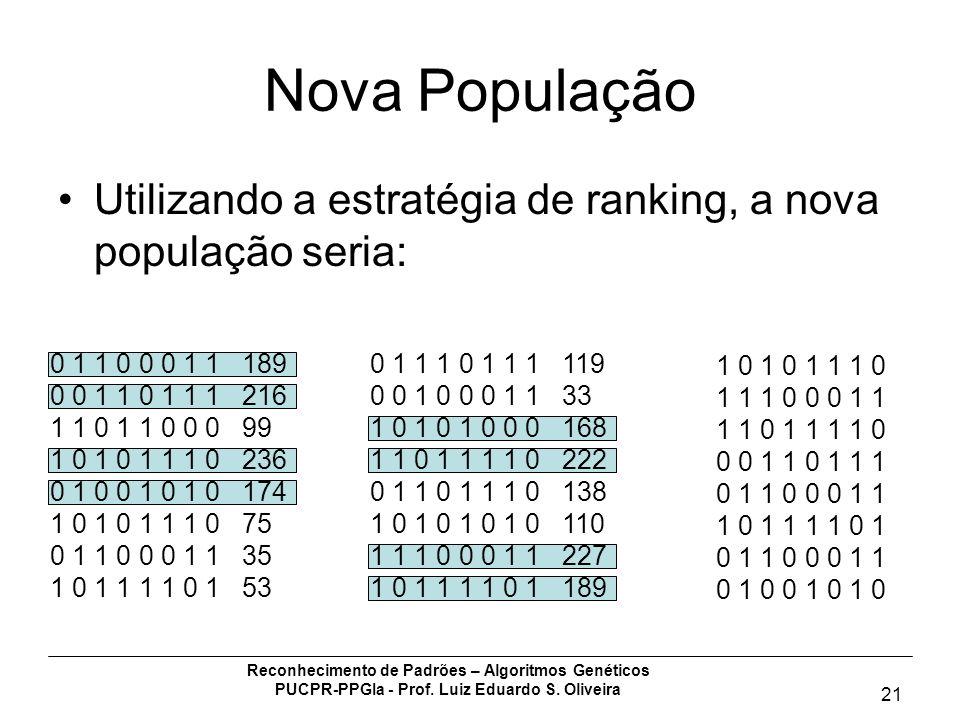 Nova População Utilizando a estratégia de ranking, a nova população seria: 0 1 1 0 0 0 1 1 189. 0 0 1 1 0 1 1 1 216.