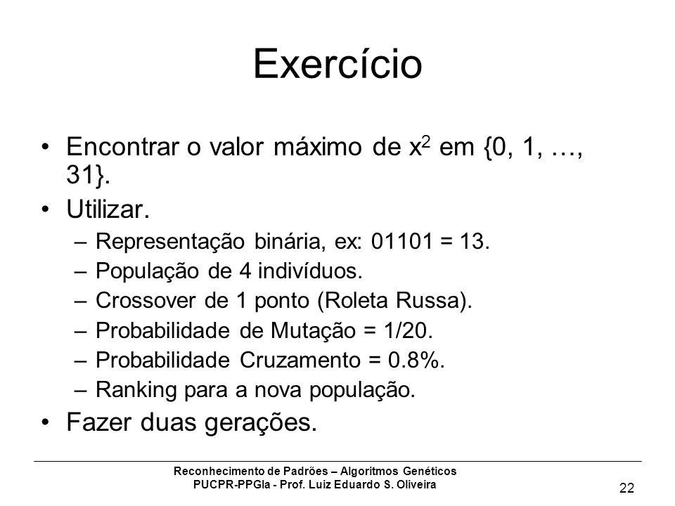 Exercício Encontrar o valor máximo de x2 em {0, 1, …, 31}. Utilizar.
