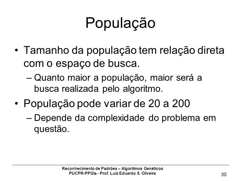 População Tamanho da população tem relação direta com o espaço de busca. Quanto maior a população, maior será a busca realizada pelo algoritmo.
