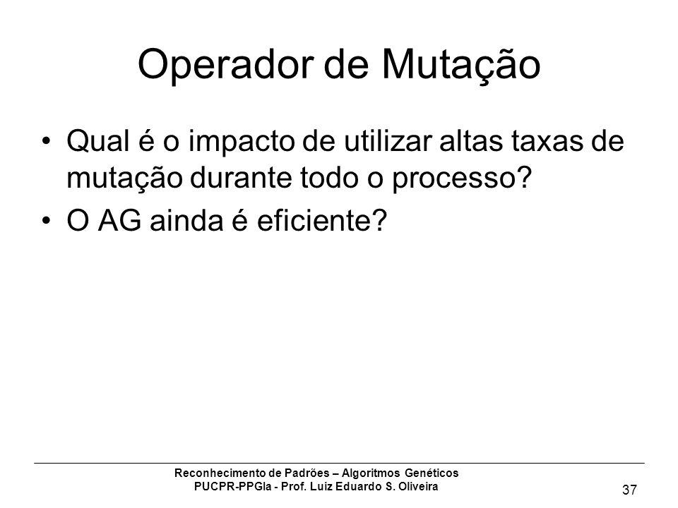Operador de Mutação Qual é o impacto de utilizar altas taxas de mutação durante todo o processo O AG ainda é eficiente