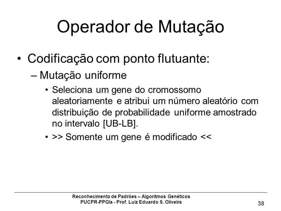 Operador de Mutação Codificação com ponto flutuante: Mutação uniforme