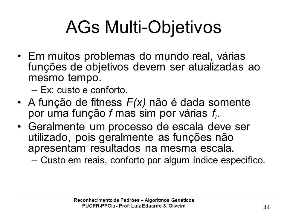 AGs Multi-Objetivos Em muitos problemas do mundo real, várias funções de objetivos devem ser atualizadas ao mesmo tempo.