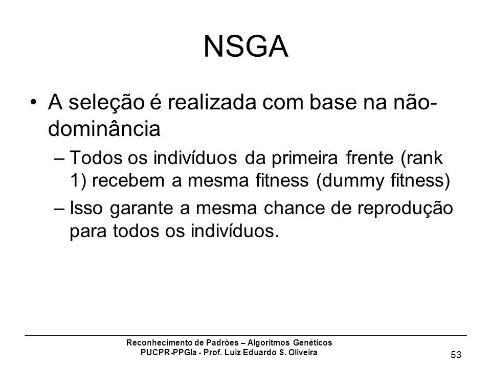 NSGA A seleção é realizada com base na não-dominância