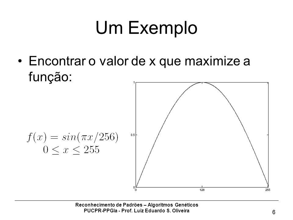 Um Exemplo Encontrar o valor de x que maximize a função: