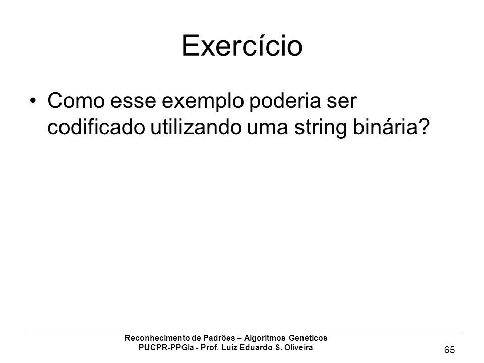 Exercício Como esse exemplo poderia ser codificado utilizando uma string binária Reconhecimento de Padrões – Algoritmos Genéticos.