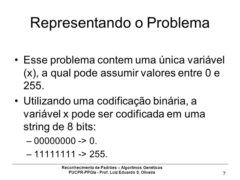 Representando o Problema