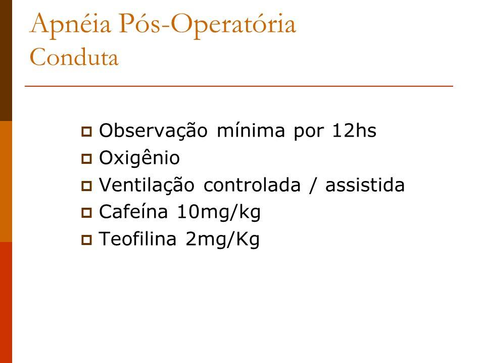 Apnéia Pós-Operatória Conduta