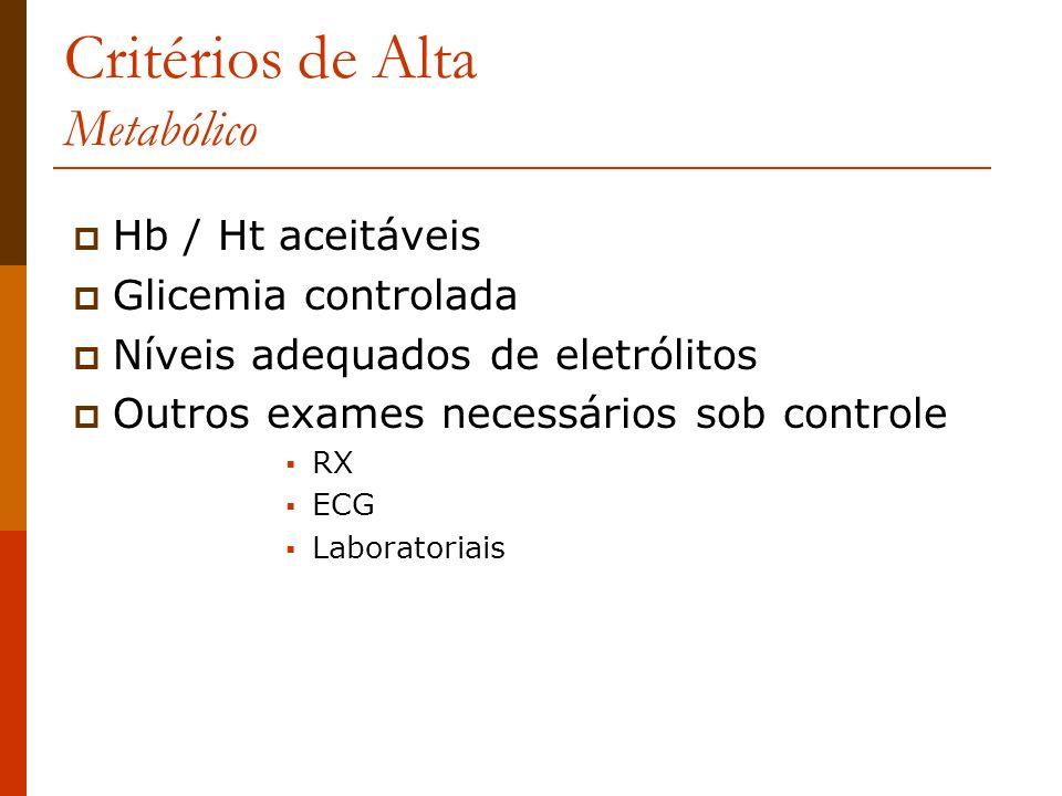 Critérios de Alta Metabólico