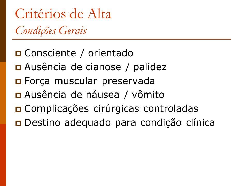 Critérios de Alta Condições Gerais