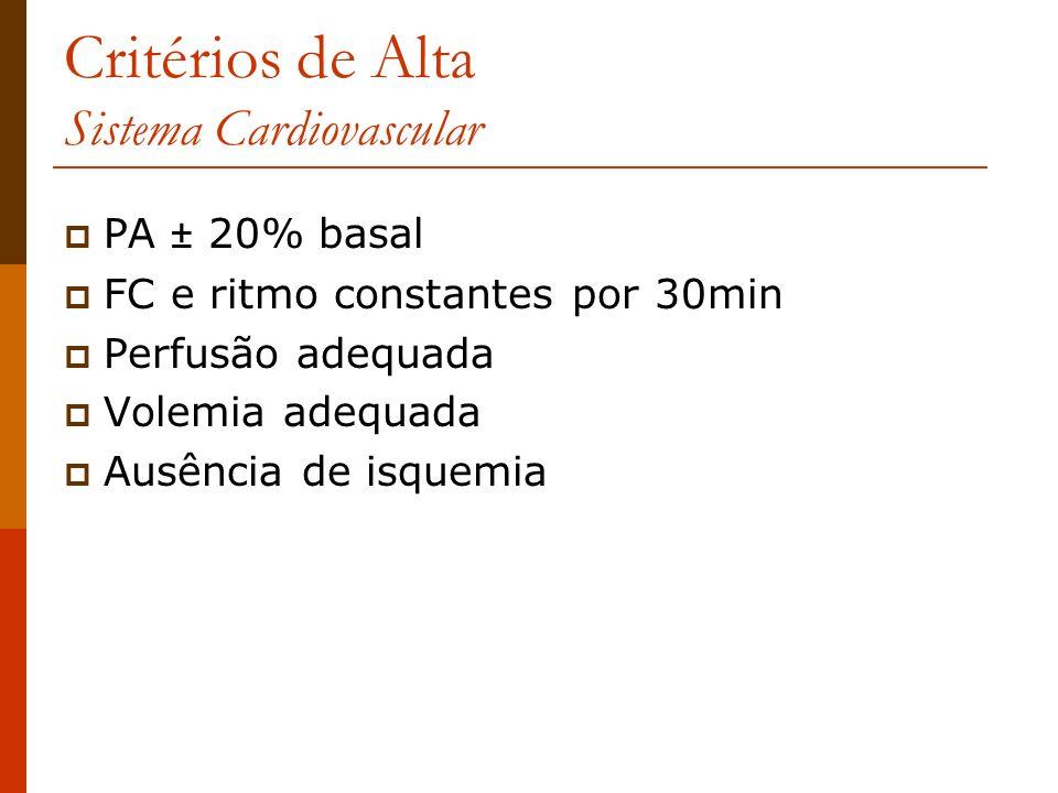 Critérios de Alta Sistema Cardiovascular