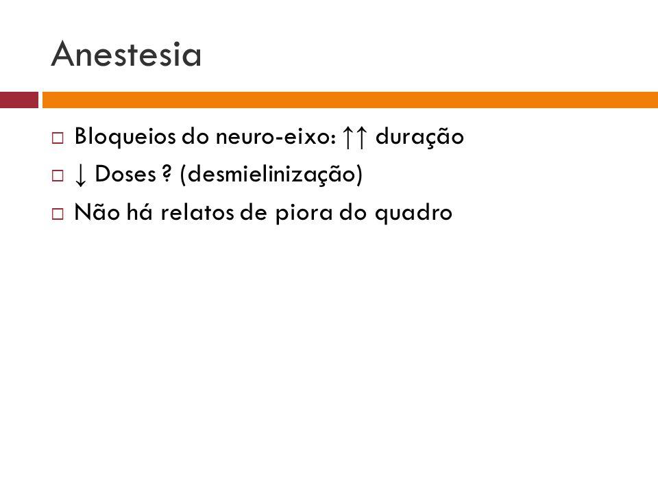 Anestesia Bloqueios do neuro-eixo: ↑↑ duração