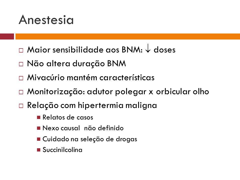 Anestesia Maior sensibilidade aos BNM:  doses Não altera duração BNM