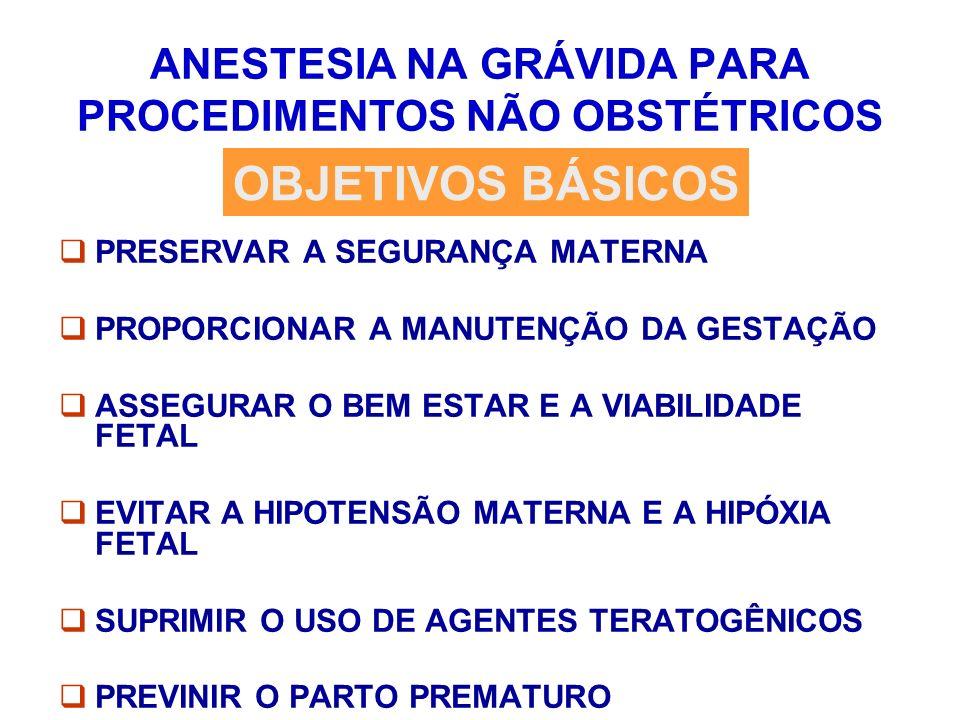 ANESTESIA NA GRÁVIDA PARA PROCEDIMENTOS NÃO OBSTÉTRICOS