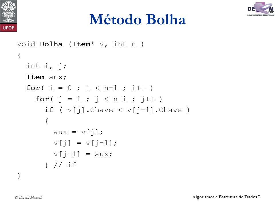 Método Bolha void Bolha (Item* v, int n ) { int i, j; Item aux;