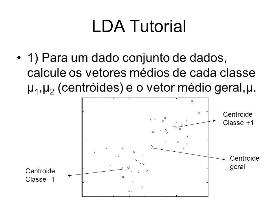 LDA Tutorial 1) Para um dado conjunto de dados, calcule os vetores médios de cada classe μ1,μ2 (centróides) e o vetor médio geral,μ.