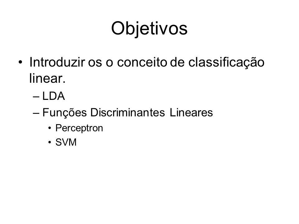 Objetivos Introduzir os o conceito de classificação linear. LDA