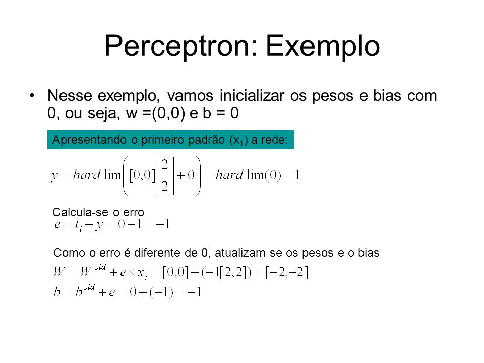 Perceptron: Exemplo Nesse exemplo, vamos inicializar os pesos e bias com 0, ou seja, w =(0,0) e b = 0.