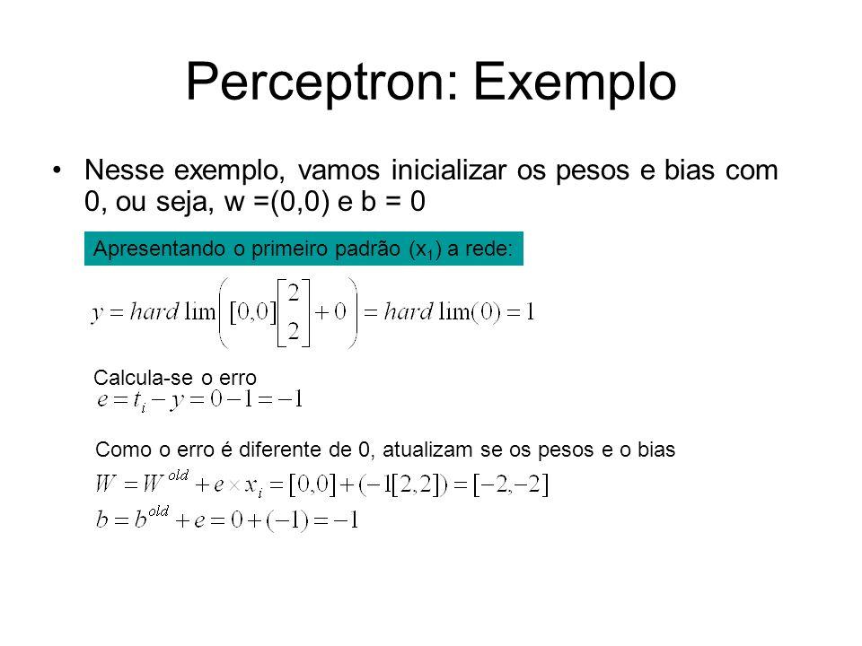 Perceptron: ExemploNesse exemplo, vamos inicializar os pesos e bias com 0, ou seja, w =(0,0) e b = 0.