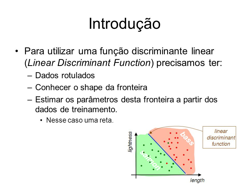 IntroduçãoPara utilizar uma função discriminante linear (Linear Discriminant Function) precisamos ter: