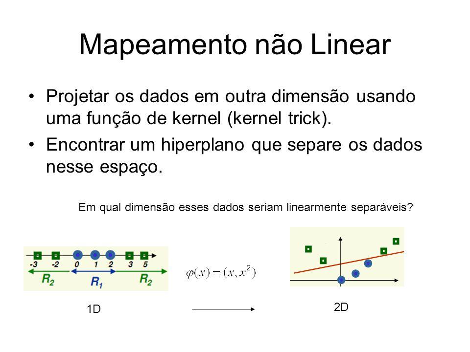 Mapeamento não LinearProjetar os dados em outra dimensão usando uma função de kernel (kernel trick).