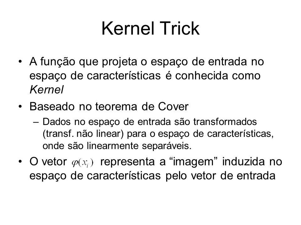 Kernel Trick A função que projeta o espaço de entrada no espaço de características é conhecida como Kernel.