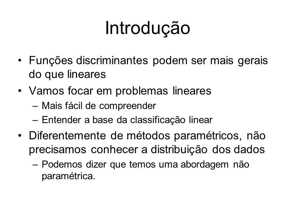 Introdução Funções discriminantes podem ser mais gerais do que lineares. Vamos focar em problemas lineares.