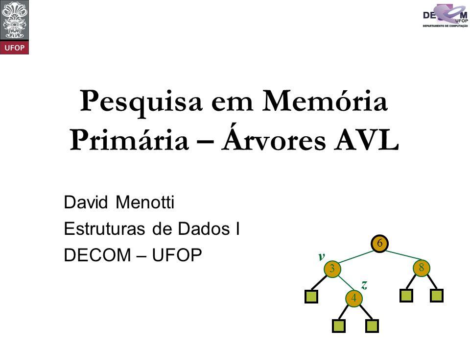 Pesquisa em Memória Primária – Árvores AVL