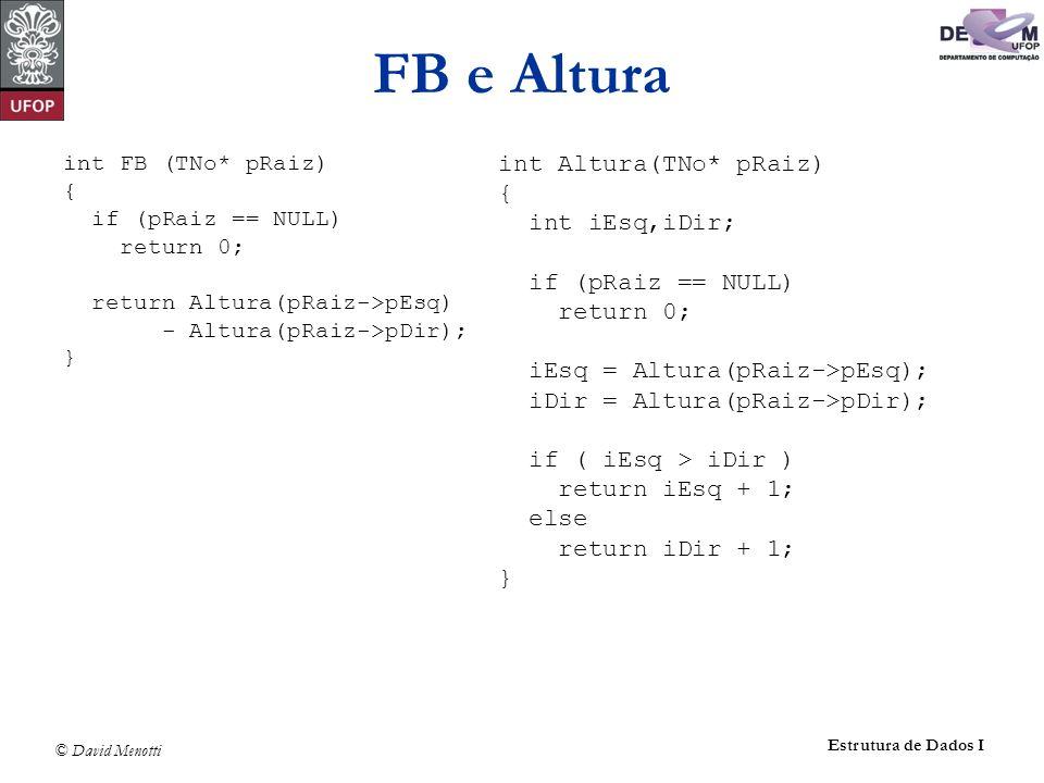 FB e Altura int Altura(TNo* pRaiz) { int iEsq,iDir; if (pRaiz == NULL)