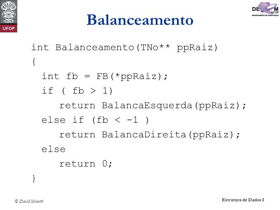 Balanceamento int Balanceamento(TNo** ppRaiz) { int fb = FB(*ppRaiz);