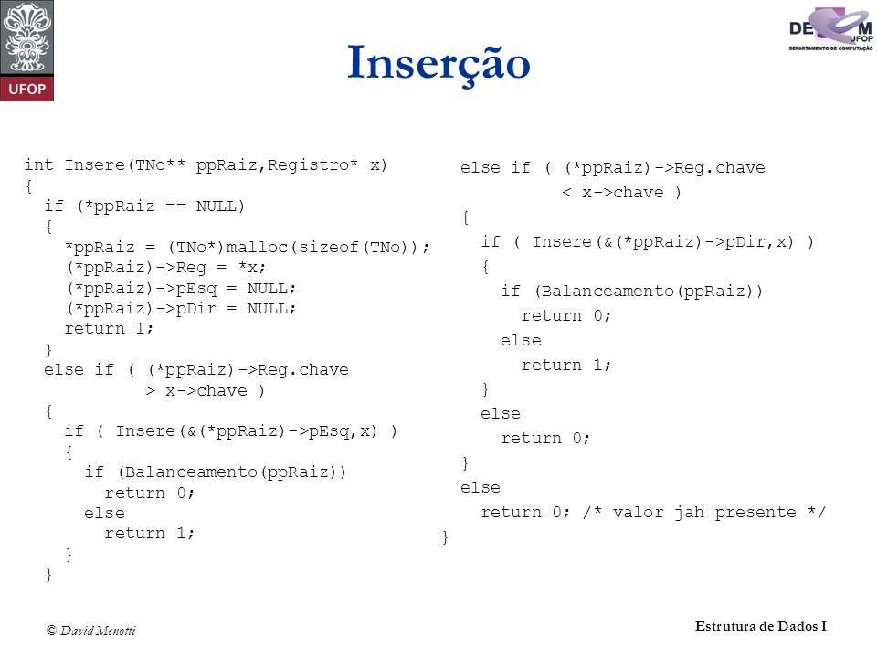 Inserção int Insere(TNo** ppRaiz,Registro* x) { if (*ppRaiz == NULL)