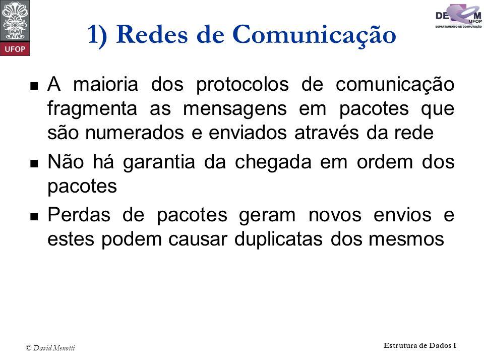 1) Redes de Comunicação A maioria dos protocolos de comunicação fragmenta as mensagens em pacotes que são numerados e enviados através da rede.