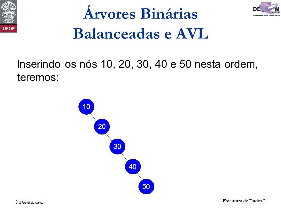 Árvores Binárias Balanceadas e AVL