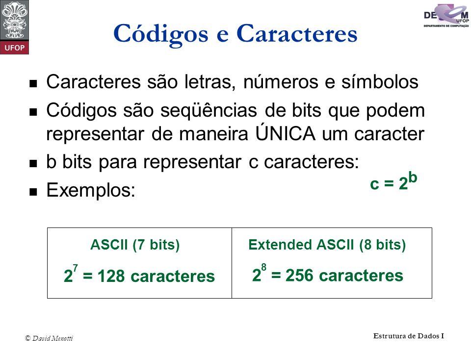 Códigos e Caracteres Caracteres são letras, números e símbolos