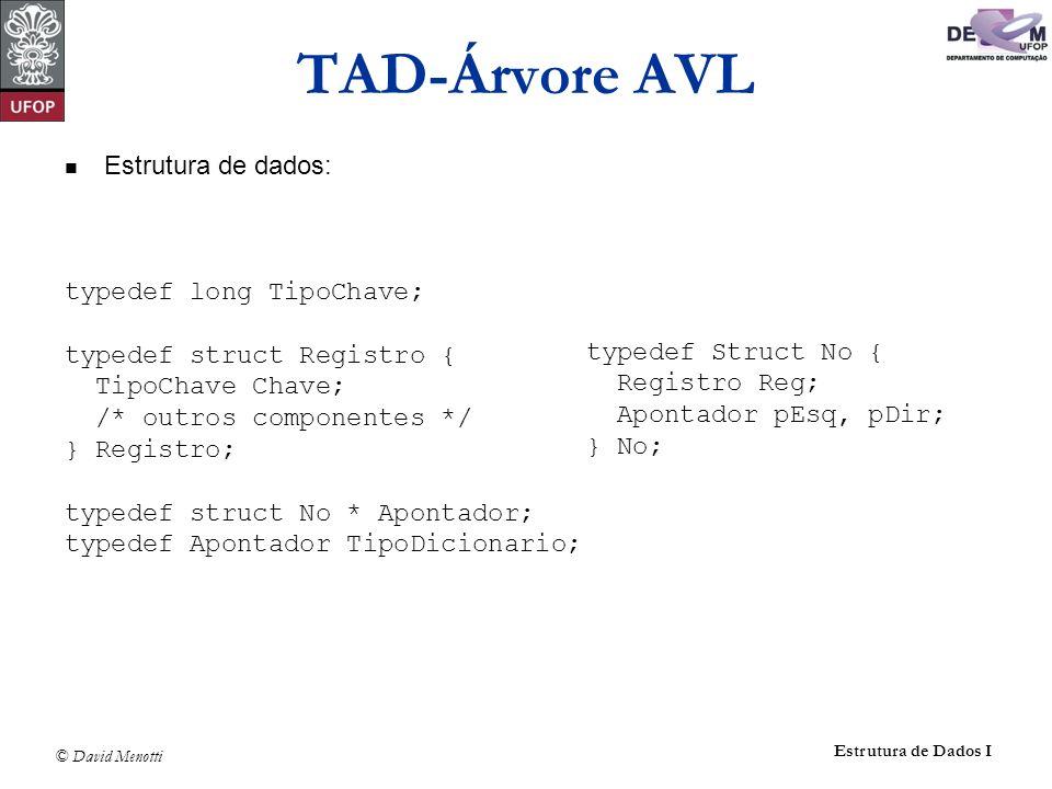 TAD-Árvore AVL Estrutura de dados: typedef long TipoChave;