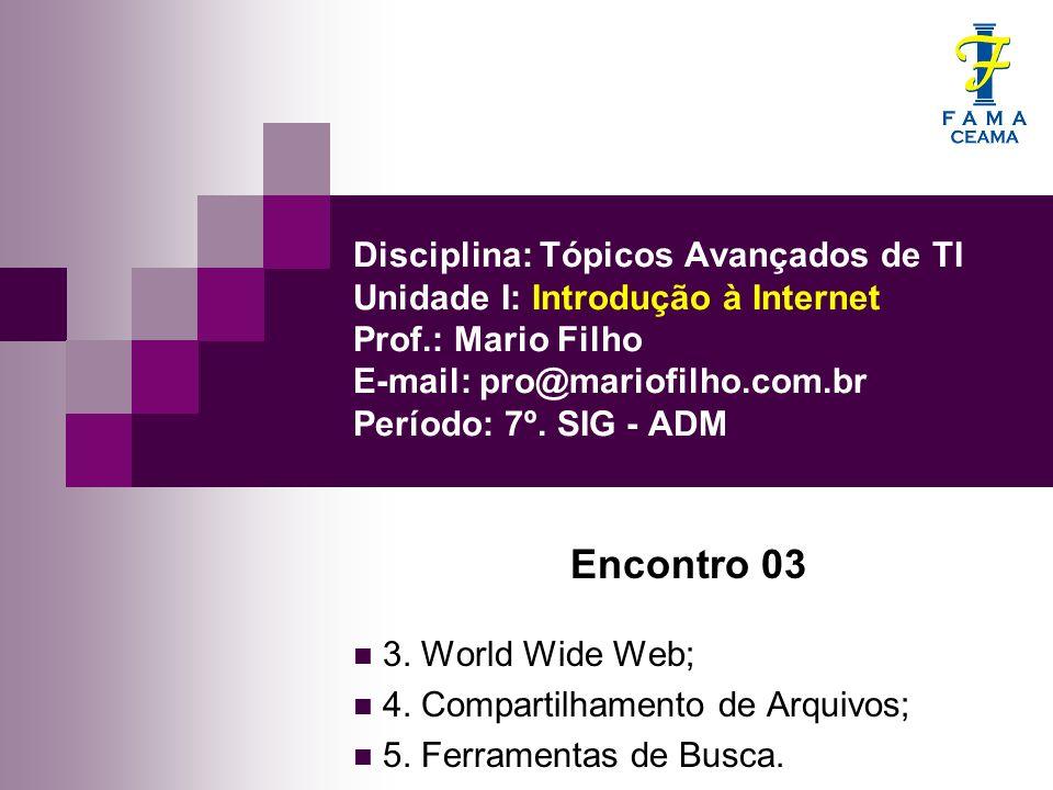 Disciplina: Tópicos Avançados de TI Unidade I: Introdução à Internet Prof.: Mario Filho E-mail: pro@mariofilho.com.br Período: 7º. SIG - ADM
