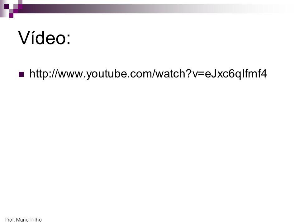 Vídeo: http://www.youtube.com/watch v=eJxc6qIfmf4 Prof. Mario Filho