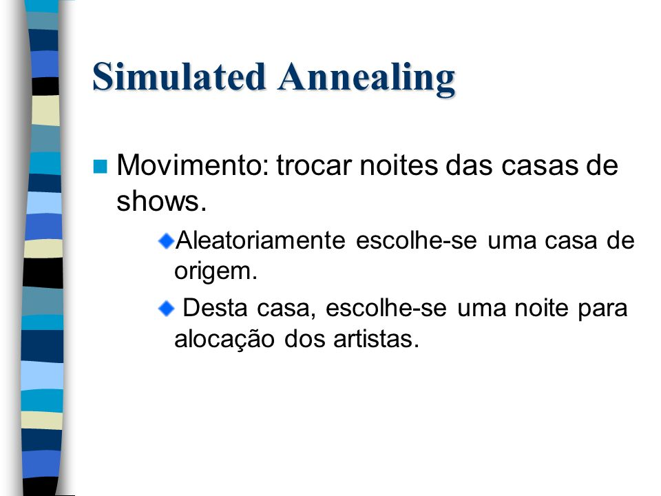 Simulated Annealing Movimento: trocar noites das casas de shows.