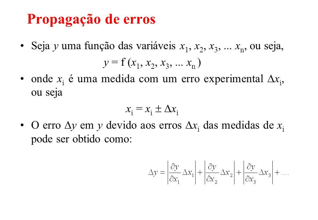 Propagação de erros Seja y uma função das variáveis x1, x2, x3, ... xn, ou seja, y = f (x1, x2, x3, ... xn )