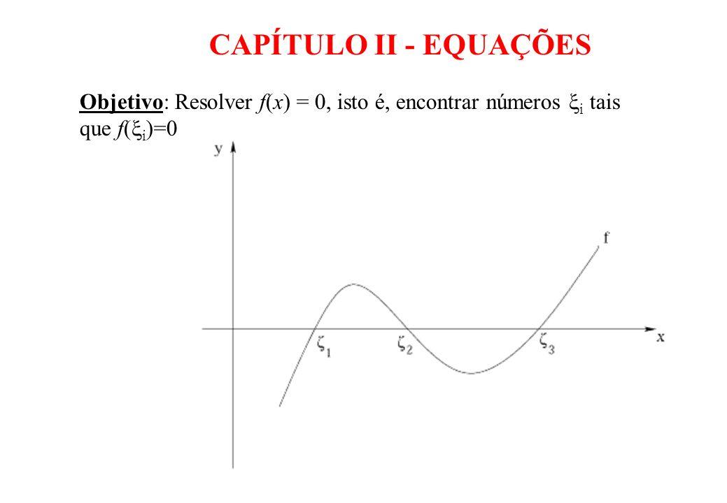 CAPÍTULO II - EQUAÇÕES Objetivo: Resolver f(x) = 0, isto é, encontrar números i tais que f(i)=0