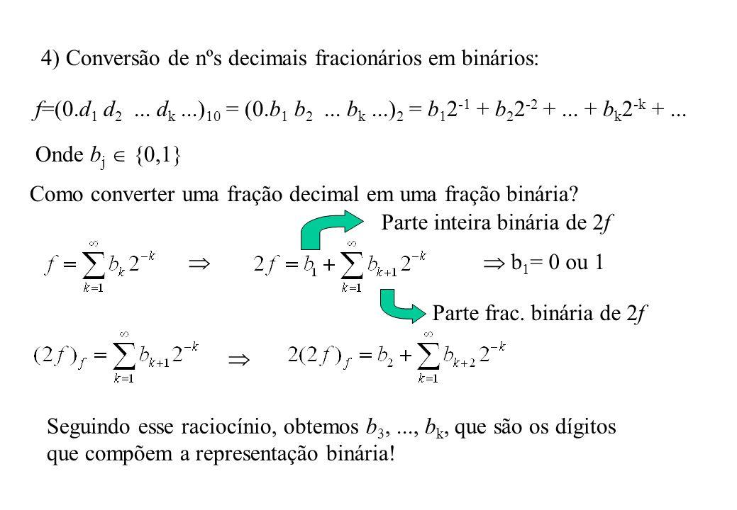 4) Conversão de nºs decimais fracionários em binários: