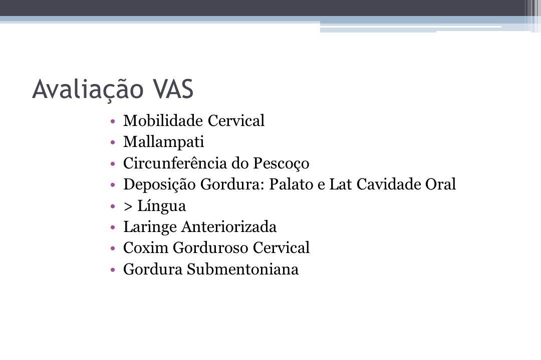 Avaliação VAS Mobilidade Cervical Mallampati Circunferência do Pescoço