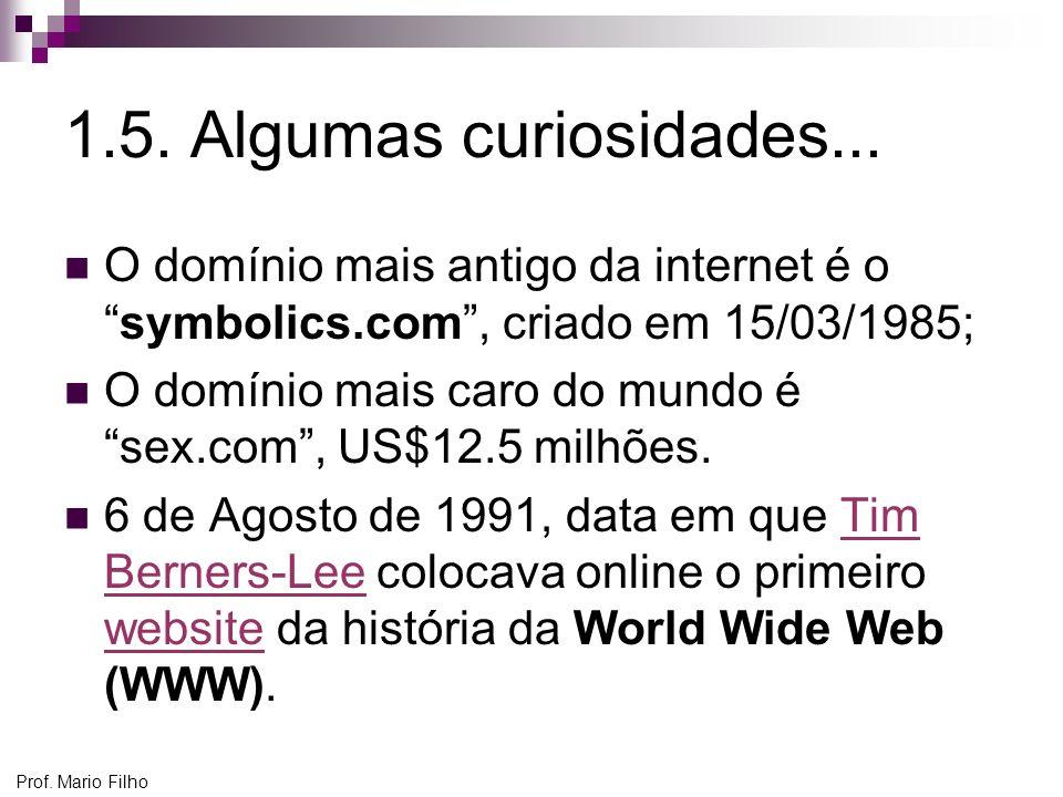 1.5. Algumas curiosidades... O domínio mais antigo da internet é o symbolics.com , criado em 15/03/1985;