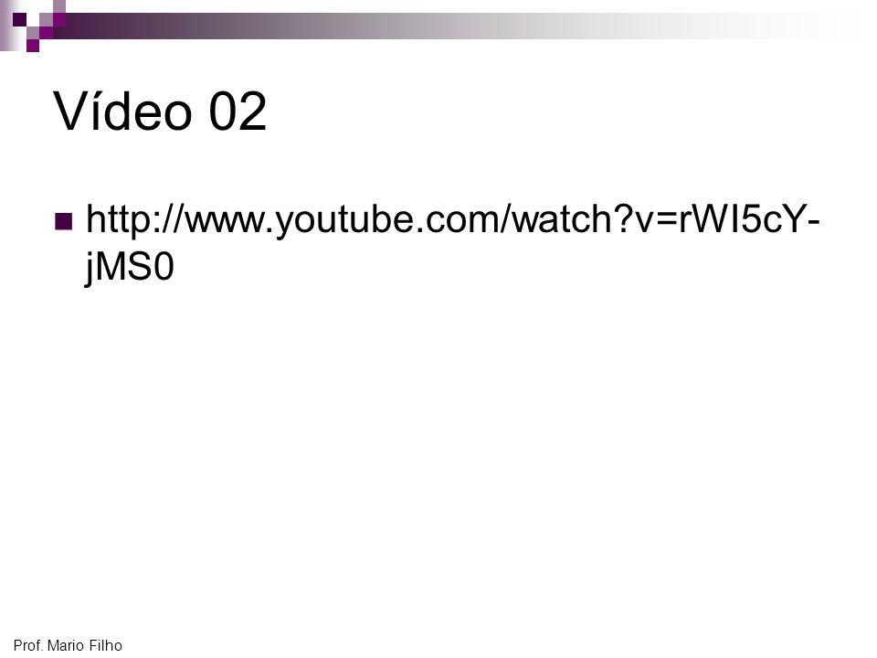 Vídeo 02 http://www.youtube.com/watch v=rWI5cY-jMS0 Prof. Mario Filho