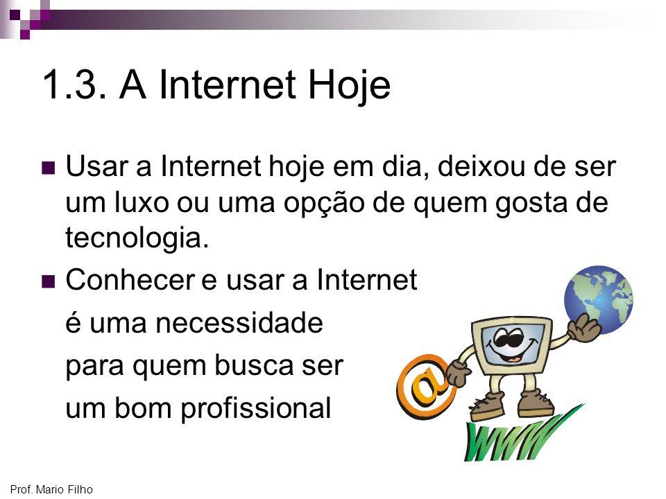 1.3. A Internet Hoje Usar a Internet hoje em dia, deixou de ser um luxo ou uma opção de quem gosta de tecnologia.